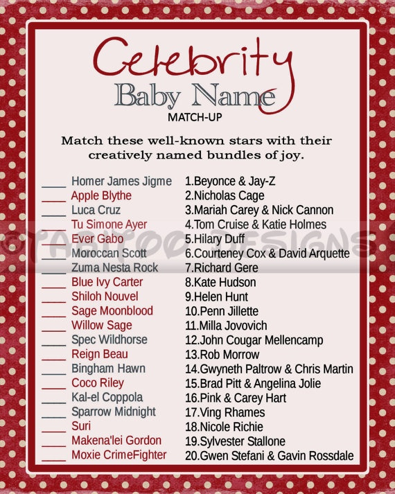 Celebrity Baby Name Match Up Game Baby Shower Printable Enter Code Pin10 And Receive 10 Off Your O Celebrity Baby Names Baby Names Baby Shower Printables