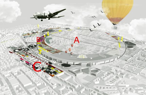 Airlift into the Future: Tempelhof as a communual space and alternative Powerplant. In May 2009, the Berlin Senate announced three equal prizes for the international urban ideas competition for the Columbia Quartier and the former airfield Tempelhof, Berlin.  Chora Architecture & Urbanism, in partnership with Buro Happold and Gross Max was one of the three winners.