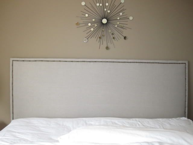 diy headboard fabric covered plywood with nailhead trim