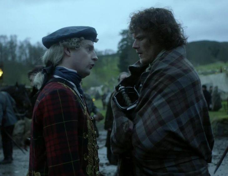 "Prince Charles Stuart (Andrew Gower) and Jamie Fraser (Sam Heughan) in Episode 213 ""Dragonfly In Amber"" Outlander Season Two Finale on Starz via https://outlander-online.com/"