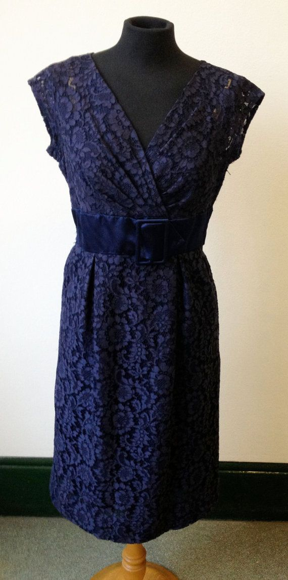 vintage early 1960s navy lace Hardy Amies cocktail/wiggle dress