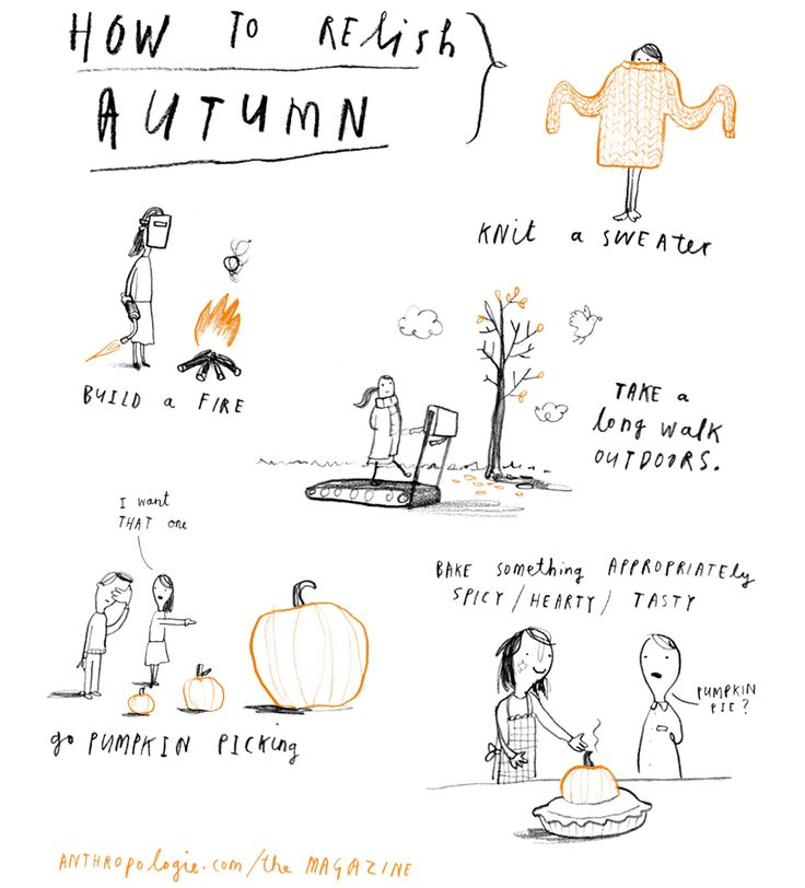 how to relish autumn: build a fire, knit a sweater, take a long walk outdoors, go pumpkin picking...