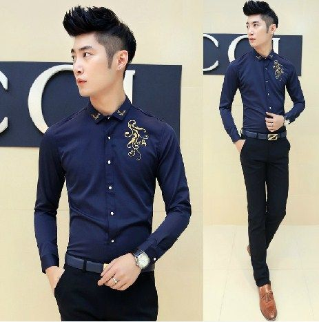 Find More Casual Shirts Information about New Arrival Chinese Style Embroidery Vintage Shirt Fashion Cool Men Evening Club Slim Wear ,High Quality wear light blue shirt,China wear yellow shirt Suppliers, Cheap shirt from HOTI STYLE on Aliexpress.com