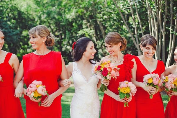Red Bridesmaids Dresses | photography by http://thenicholsblog.com/
