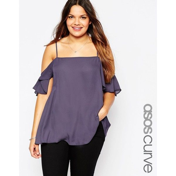 ASOS CURVE Longline Cami With Cold Shoulder ($18) ❤ liked on Polyvore featuring plus size fashion, plus size clothing, plus size tops, navy, plus size, purple top, plus size bandeau top, cold shoulder tops and plus size cami