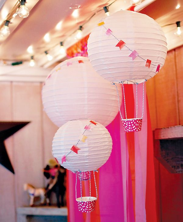 Paper Lantern Hot Air Balloons, butch them up for the boy's adventure party