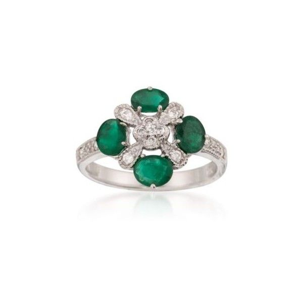 http://rubies.work/0976-sapphire-pin-brooch/ Ross-Simons 1.40 ct. t.w. Emerald and .20 ct. t.w. Diamond Ring in... (49980 RSD) ❤ liked on Polyvore featuring jewelry, rings, white gold, emerald band ring, emerald jewelry, band rings, oval diamond ring and emerald ring