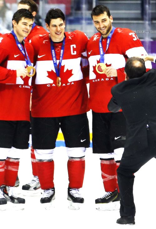 Chris Kunitz, Sidney Crosby, and Patrice Bergeron #Sochi2014