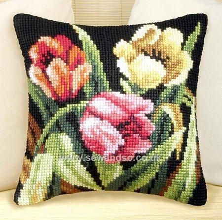 Buy Tumbling Tulips Cushion Front Chunky Cross Stitch Kit Online at www.sewandso.co.uk