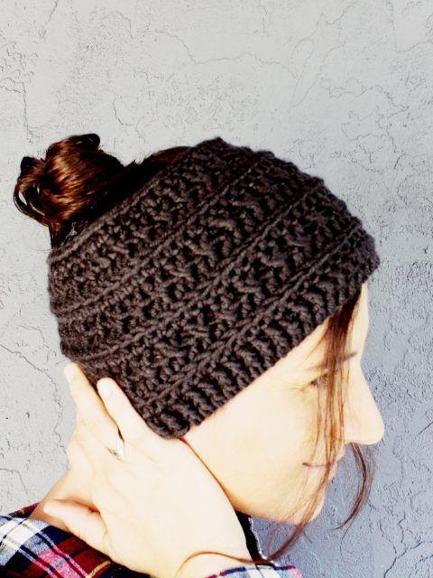 free crochet ponytail hat pattern boho