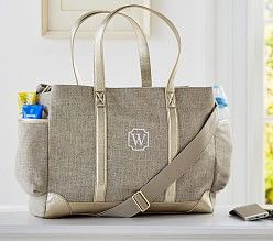 Natural Linen Classic Diaper Bag