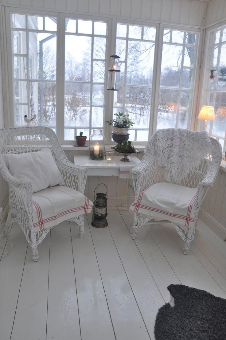 Sun porch...would add a bright color to make it sparkle!