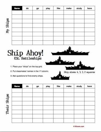 God bless the teacher who made this Battleship game!!!!!!!!!!  ESL/EFL games - boggle, verb battleships, charades etc. (with sheets)
