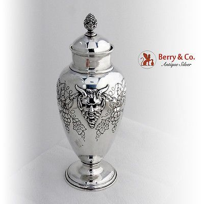 1940u0027s Ornate Bacchus Cocktail Shaker Sterling Silver. This Handsome Shaker  With A Repousse Grape Vine