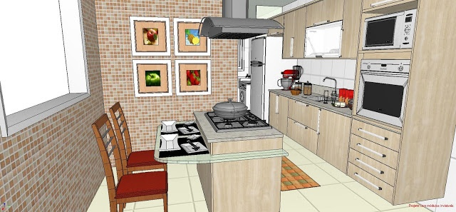 """Cozinha linear com Iha e """"passa pratos""""... A ilha recebe o fogão e bancada de refeição em vidro..."""