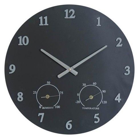 Bring the power of time to any patio or deck with the Iron Outdoor Clock from Threshold™. This metal wall clock features hands and numbers set over a gray background that is sure to give any outdoor space a bold upgrade. Made with weather-resistant iron, this outdoor wall clock is made to survive the elements. This clock also features humidity and temperature gauges to let you know when it's time to move the party indoors.