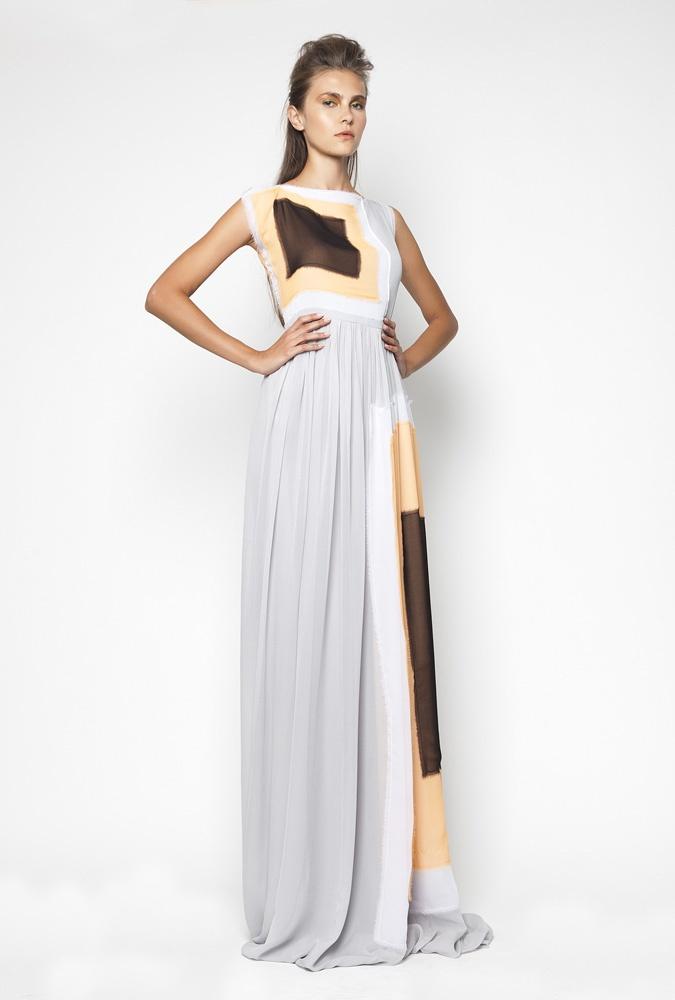 CHRISTOS COSTARELLOS SS12 Silk Chiffon ''Patched'' Maxi Dress