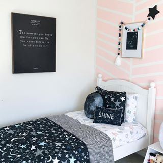 """""""The moment you doubt whether you can fly, you cease forever to be able to do it."""" Space Bedroom Decor , kids room, nursery, toddler bedroom, space for girls #toddler #kids #space #decor"""