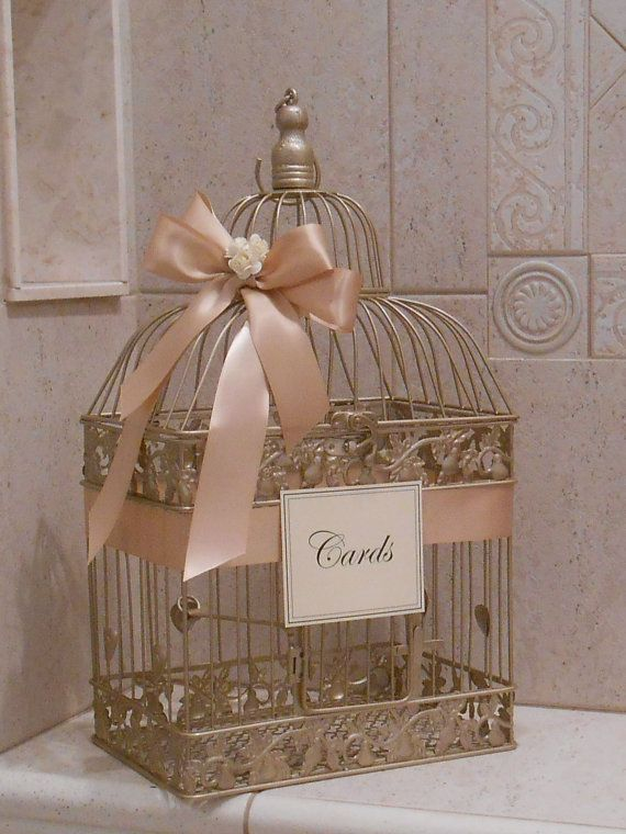 Champagne Gold Birdcage Wedding Card Box / Birdcage by YesMoreFunk, $61.00
