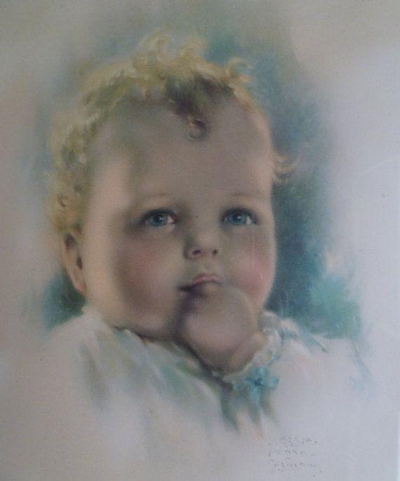 Bessie Pease Gutmann Baby Print. Framed. by moonstruckcottage
