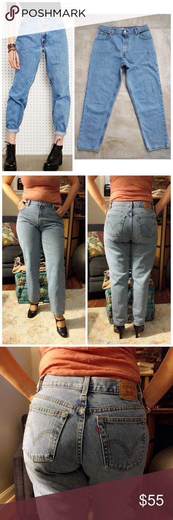 """Levis 550 High Waist Jeans 12S Light Wash W32 Introduced in 1985, the 550 is a relaxed version of the original 501 style. Today, they're the go-to classic for that chic vintage high-waist, mom silhouette. True vintage item from the 1990s.  In excellent vintage condition (9.99/10). No stains. Comes from a smoke-free home. True light blue (a vintage color that is hard to find today).  BRAND: Levi's 550. SIZE: 12S. WAIST: 32"""". RISE: 11"""". HIP: up to 40.5"""". INSEAM: 28"""". CUFF: 14"""". Vintage Jeans…"""