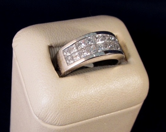 14k white gold invisible set channel diamond ring -- perfect for that special anniversary or birthday!
