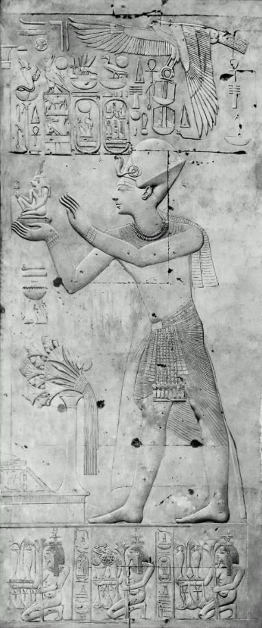 Standing Figure of King Seti I Offering a Figure of Maat to Osiris, Temple of Seti I, Abydos, 19th Dynasty
