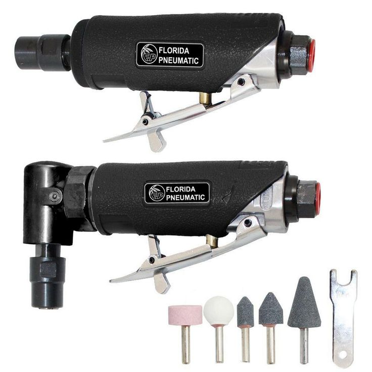 FP 1/4 In. Straight-Angled Surface Prep Die Grinder Air Tool Combination Kit #FloridaPneumatic