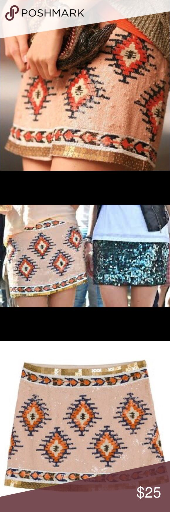 Zara sequin tribal mini skirt! Good condition. Minimal wear on the sequins - will post photos Zara Skirts Mini