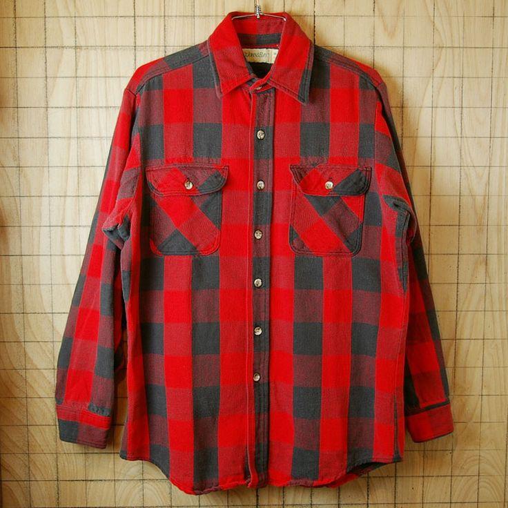 【ST.JOHN'S BAY】USA製古着レッド×ブラックバッファローチェックコットン100%シャツ|サイズM|sy-l-132