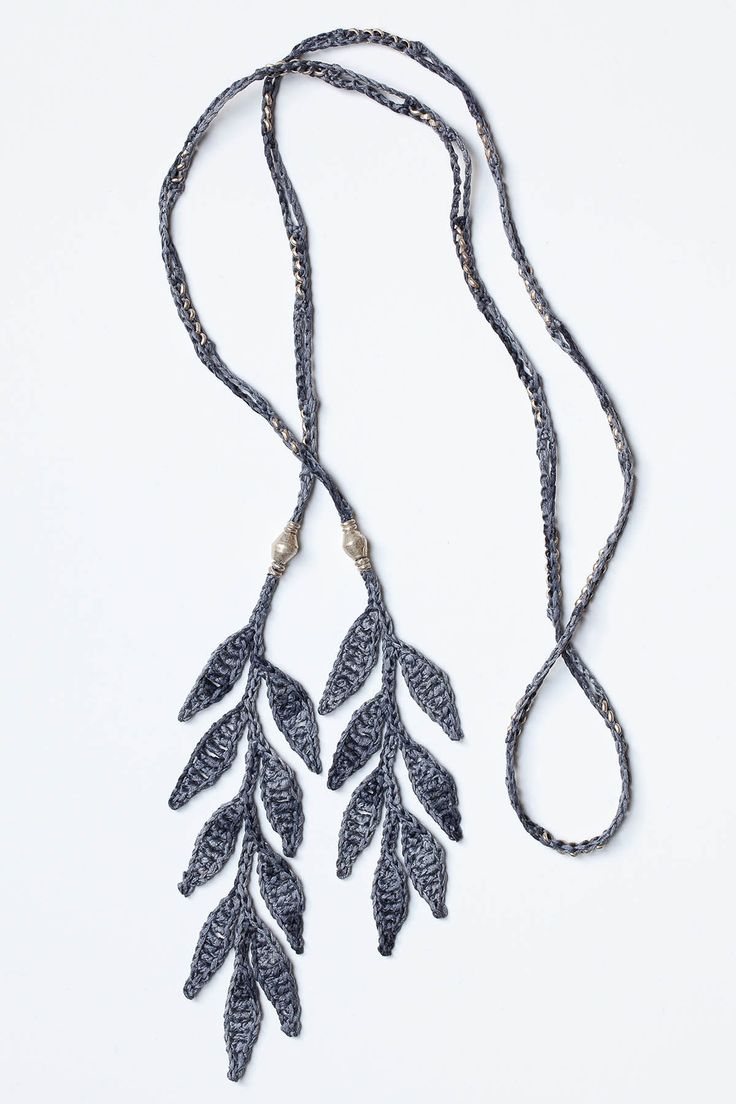Charcoal Gray Silk Leaf Lariat Necklace with Ethiopian Silver Beads • Designed by Kelli Ronci