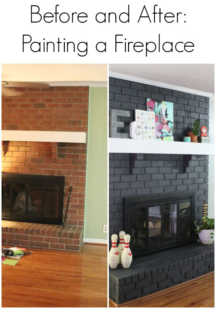 Image result for painted brick fireplace before