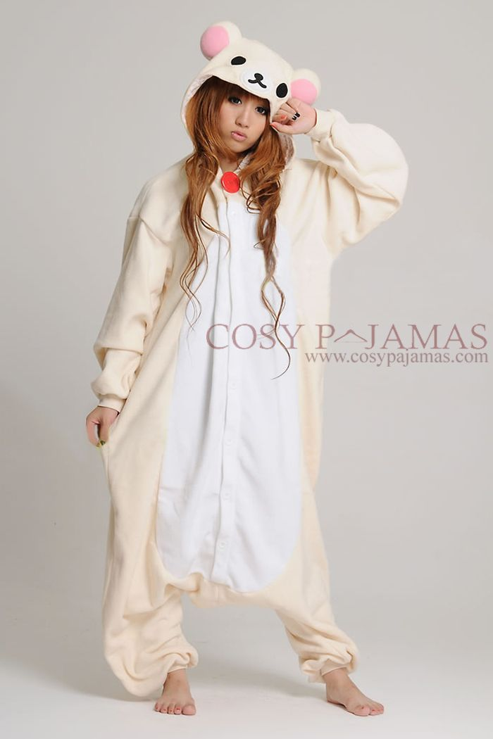 White Rilakkuma Bear Adult Onesie Kigurumi