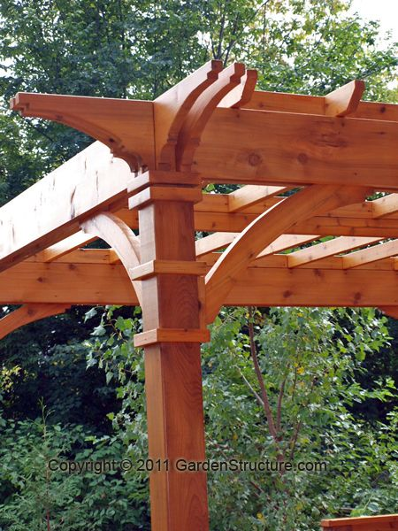 Beautiful pergola- would be nice to have something like this covering a deck off the back of the harbinger, all strung up with white Christmas lights :)