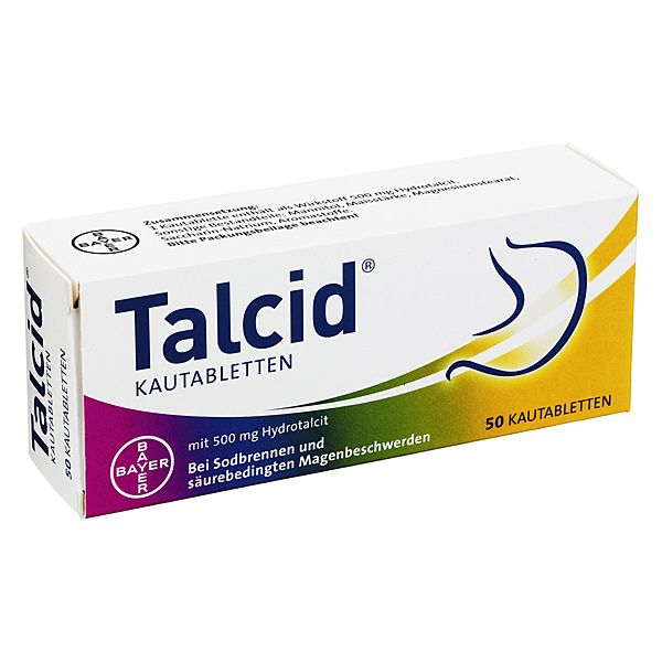 Talcid Kautabletten 500 mg, 50 St | PZN: 2530498 | WIRKSTOFF: Hydrotalcit | HERSTELLER: Bayer Vital GmbH | • Meistverkauftes Mittel gegen Sodbrennen • Schnell und gut verträglich >> http://www.juvalis.de/2530498/talcid-kautabletten << #Apotheke #Arzneimittel #Medikamente #Sodbrennen