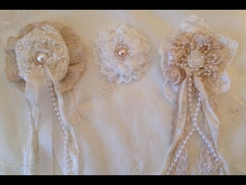 How to make a Shabby chic Lace rosette  flower  - WOC design team project - YouTube