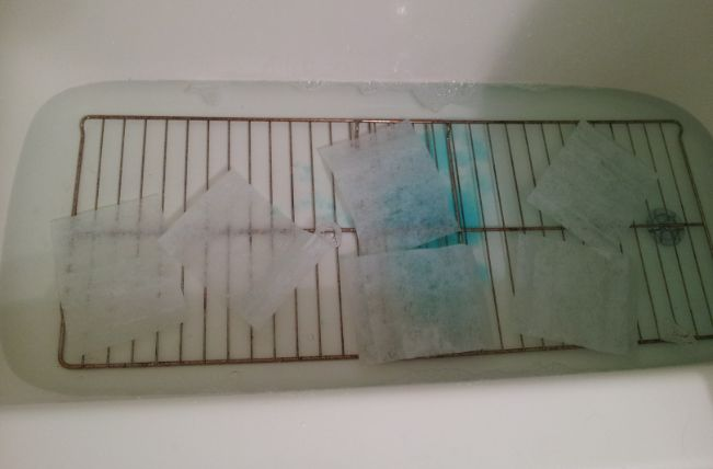 clean oven racks in bathtub overnight using Dawn, dryer sheets, and hot water