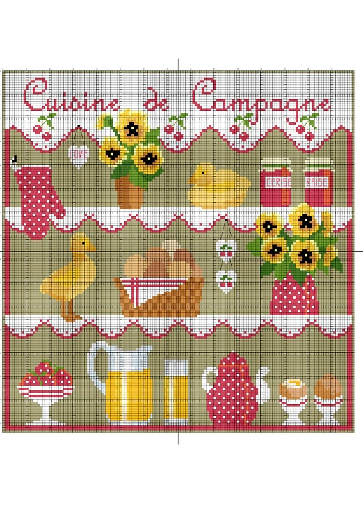 Kitchen theme- This chart is a multi functional craft pattern. Uses include : cross stitch, crochet, knitting motifs, knotting, loom beading, Perler beading, weaving and tapestry design, pixel art, micro macrame, friendship bracelets, and anything involving the use of a charted pattern.
