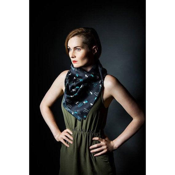 Cats on black square silk satin scarf  Women fashion