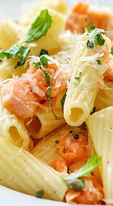 Light Lemon Garlic Pasta with Salmon