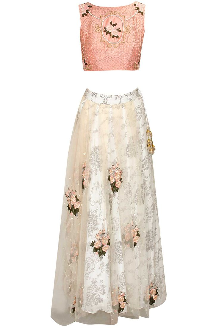 Pink garden rose embroidered lehenga set available only at Pernia's Pop Up Shop.
