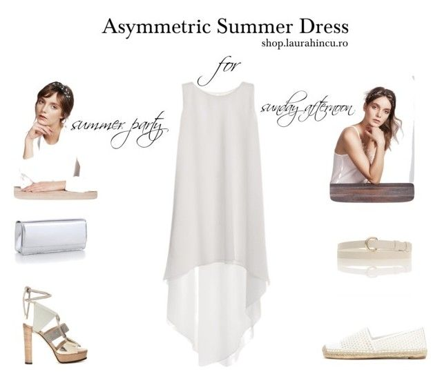 Asymmetric summer dress by shop.laurahincu.ro on Polyvore featuring Albertine's for YVY Bags, Magnolia Atelier, Tory Burch, Jimmy Choo #LHSilkEssentials