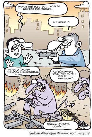 Şeytan doldurur karikatür