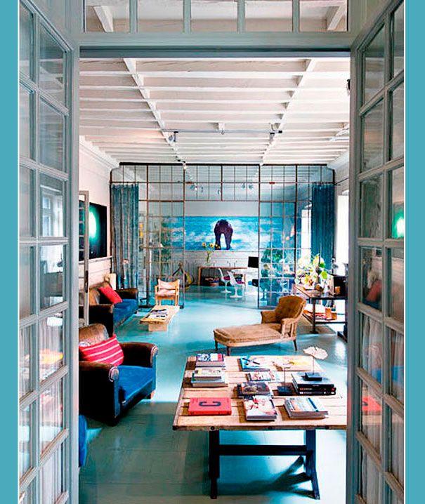 blue floor, big window walls