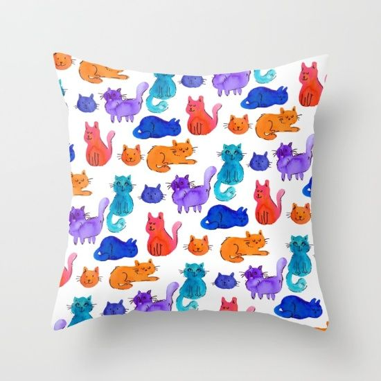 Fluffy Watercolor Cat Pattern Throw Pillow by Erika Biro | Society6
