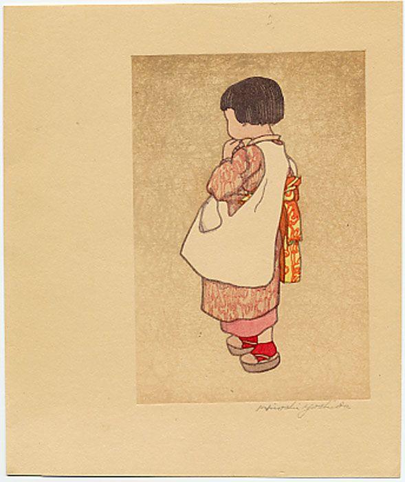 """Hiroshi Yoshida, """"Young Japanese Girl.""""  Castle Fine Arts"""