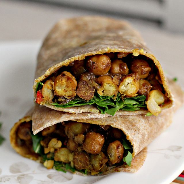 West Indian-style Channa Wraps // use LC tortillas; 1 cup of chickpeas (chana) = 45g carbs less 12g fiber for 33g net carbs; this recipe serves 4, so there are only 8.25g net carbs per serving from the chickpeas. If you want less, reduce the amount of chickpeas in the recipe and add in some cauliflower or broccoli for a yummy veggie wrap