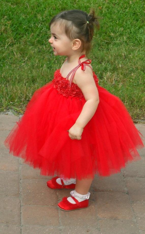 Red tutu dress with  shabby chic flowers, holiday tutu dress, christmas tutu dress, flower girl tutu dress, photo prop dress. $65.00, via Etsy.