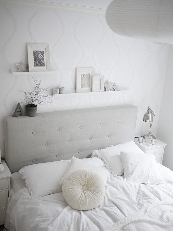 white bedroom decor - love the shelves above the bed
