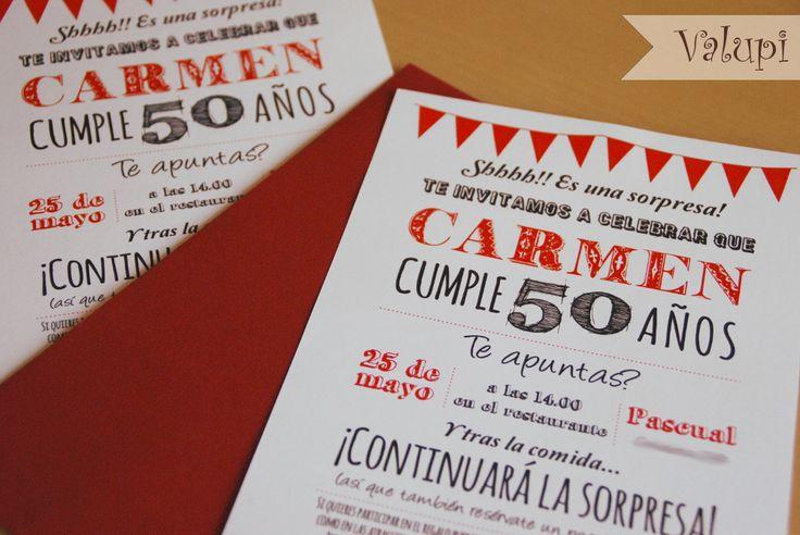 Valupi - Handmade with love: Miércoles de inspiración ♥ Invitaciones para cumpleaños